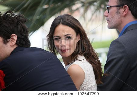 Berenice Bejo  and director Michel Hazanavicius attend the 'Redoutable (Le Redoutable)' photocall during the 70th Cannes Film Festival at Palais on May 21, 2017 in Cannes, France.