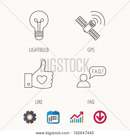 GPS, question and lightbulb icons. Thumb up, like linear sign.  Calendar, Graph chart and Cogwheel signs. Download colored web icon. Vector