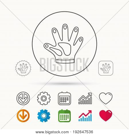Construction gloves icon. Textile hand protection sign. Housework cleaning equipment symbol. Calendar, Graph chart and Cogwheel signs. Download and Heart love linear web icons. Vector