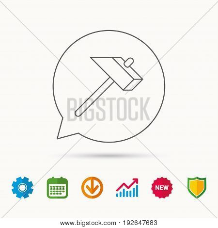 Hammer icon. Repair or fix sign. Construction equipment tool symbol. Calendar, Graph chart and Cogwheel signs. Download and Shield web icons. Vector