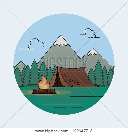 Tent camp in nature in the forest. Camping with forest. Vector flat design icon.