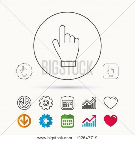 Click hand icon. Press or push pointer sign. Calendar, Graph chart and Cogwheel signs. Download and Heart love linear web icons. Vector