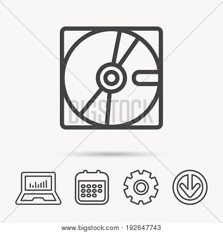 Harddisk icon. Hard drive storage sign. Notebook, Calendar and Cogwheel signs. Download arrow web icon. Vector