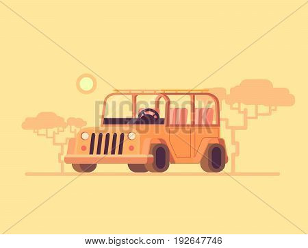 Safari jeep. Vector flat illustration off road car. Safari tourism in a car. Concept