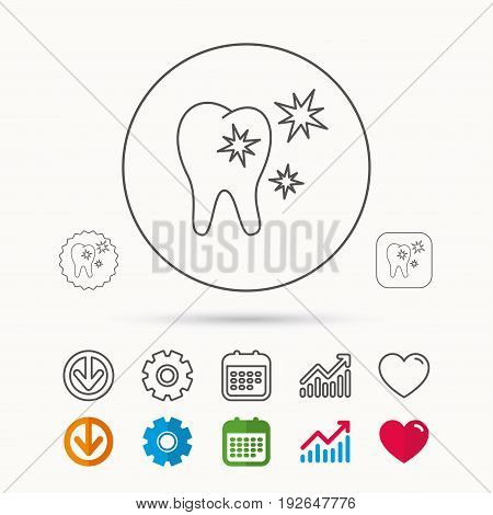 Healthy tooth icon. Dental protection sign. Calendar, Graph chart and Cogwheel signs. Download and Heart love linear web icons. Vector