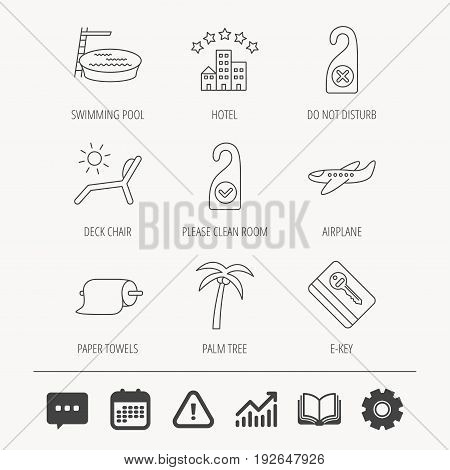 Hotel, swimming pool and beach deck chair icons. E-key, do not disturb and clean room linear signs. Paper towels, palm tree and airplane icons. Education book, Graph chart and Chat signs. Vector