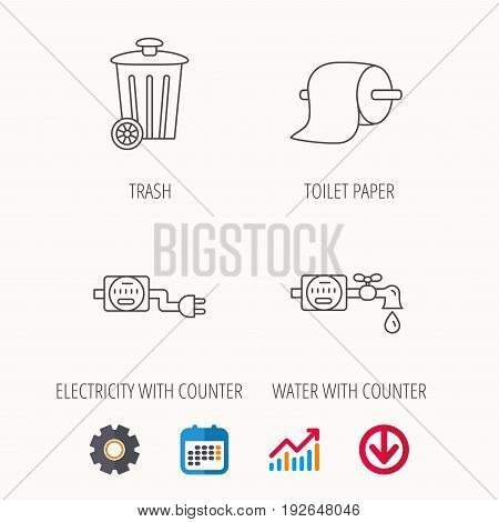 Trash bin, electricity and water counter icons. Toiler paper linear sign. Calendar, Graph chart and Cogwheel signs. Download colored web icon. Vector