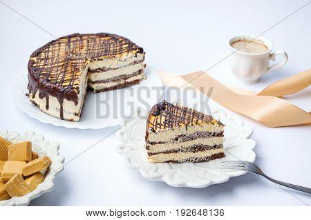 Caramel Cake With Triangle Shaped Slice
