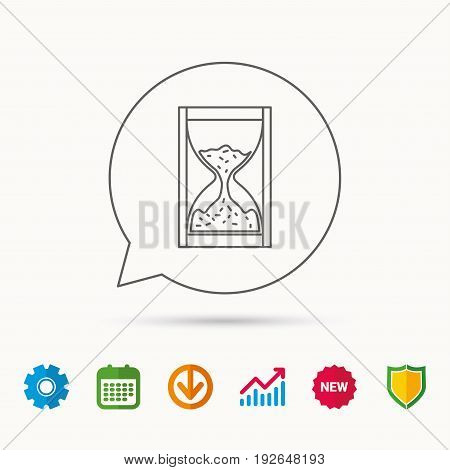 Hourglass icon. Sand time sign. Calendar, Graph chart and Cogwheel signs. Download and Shield web icons. Vector