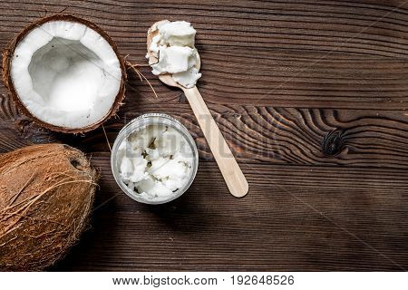 broken fresh coconut for food on wooden table background top view space for text