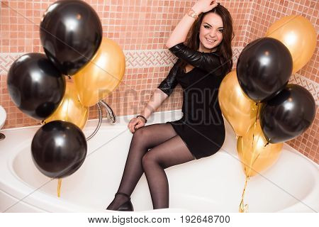 A Birthday Girl On Her 18Th Birthday With Baloons