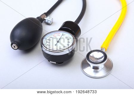 Medical stethoscope and blood pressure meter isolated on white background. healthcare