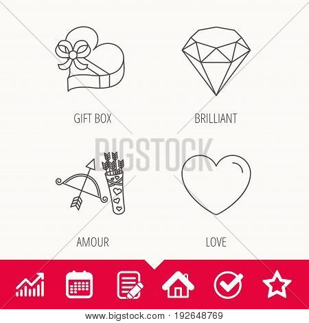 Love heart, brilliant and gift box icons. Amour bow with arrows linear signs. Edit document, Calendar and Graph chart signs. Star, Check and House web icons. Vector