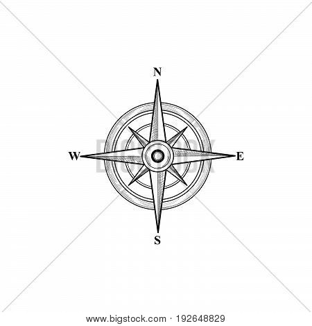 Compass sign. Compass wind rose hand drawn design element. Black wind rose sketch sign isolated. Navigation icon