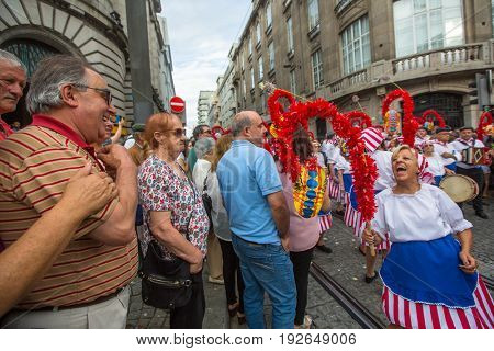 PORTO, PORTUGAL - JUN 25, 2017: Participants Festival of St John. Happens every year during Midsummer, thousands of people come to the city centre in a party that mixes sacred and profane traditions.