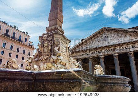 Pantheon In Piazza Della Rotonda. Rome, Italy