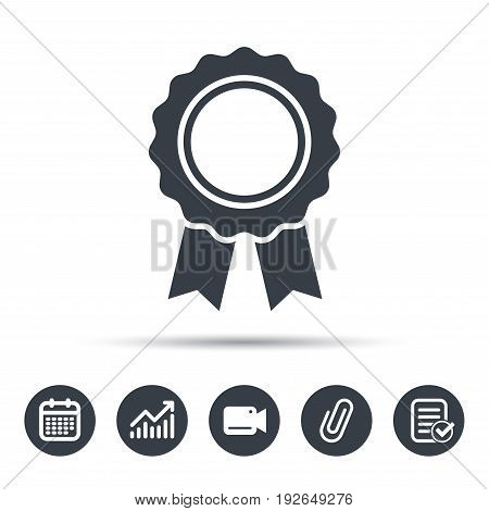 Medal icon. Winner award emblem symbol. Calendar, chart and checklist signs. Video camera and attach clip web icons. Vector