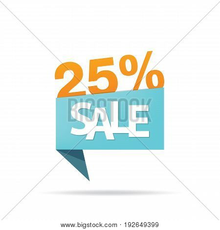 Vol.4 Sale Sign Set Blue And Orange 25 Percent Heading Design For Banner Or Poster. Sale And Discoun