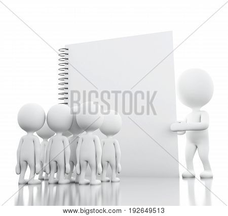 3D White People And Leadership With A Notepad.