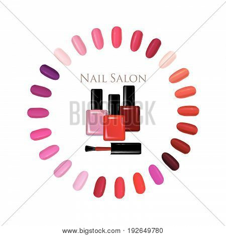 Nail beauty salon background. Manicure nails polished sign set.