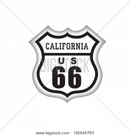 Travel USA sign. Route 66 label with California lettering. American road icon