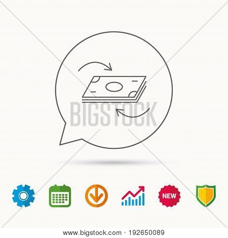 Money flow icon. Cash investment sign. Currency exchange symbol. Calendar, Graph chart and Cogwheel signs. Download and Shield web icons. Vector