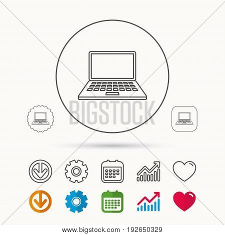 Notebook icon. Mobile laptop sign. Calendar, Graph chart and Cogwheel signs. Download and Heart love linear web icons. Vector