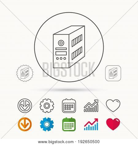 Computer server icon. PC case or tower sign. Calendar, Graph chart and Cogwheel signs. Download and Heart love linear web icons. Vector