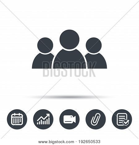 People icon. Group of humans sign. Team work symbol. Calendar, chart and checklist signs. Video camera and attach clip web icons. Vector