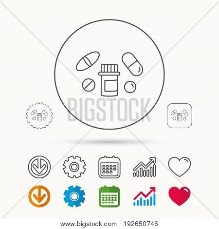 Pills icon. Pharmacy bottle sign. Medical drugs symbol. Calendar, Graph chart and Cogwheel signs. Download and Heart love linear web icons. Vector