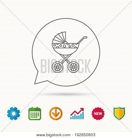 Pram icon. Newborn stroller sign. Child buggy transportation symbol. Calendar, Graph chart and Cogwheel signs. Download and Shield web icons. Vector