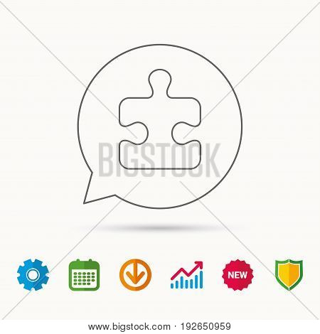 Puzzle icon. Jigsaw logical game sign. Boardgame piece symbol. Calendar, Graph chart and Cogwheel signs. Download and Shield web icons. Vector