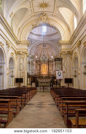 Positano Italy - Septamber 1 2016: Interior of church of Santa Maria Assunta in the centre of Positano famous town on Amalfi coast.
