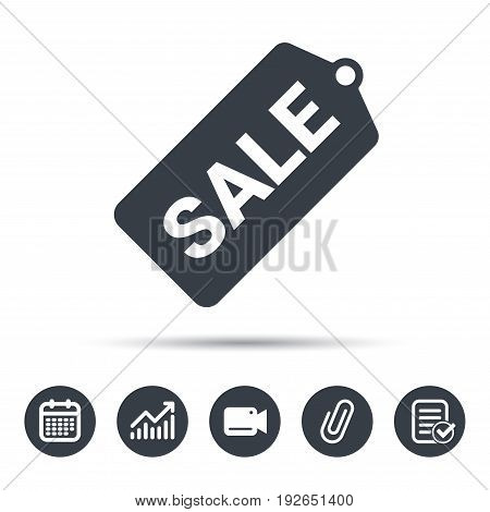 Sale coupon icon. Special offer tag symbol. Calendar, chart and checklist signs. Video camera and attach clip web icons. Vector