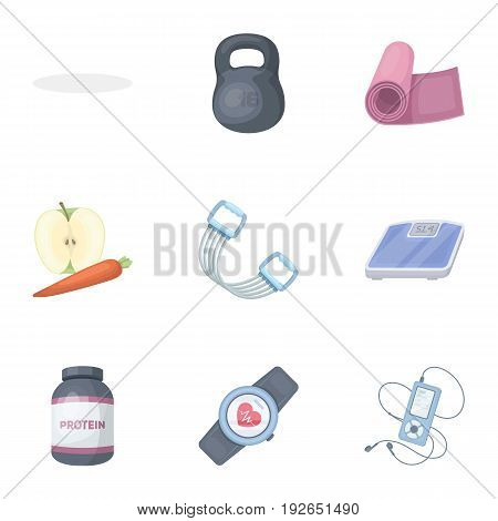 A set of pictures about the gym, training.Gym and Workout single icon in cartoon style vector symbol stock web illustration.