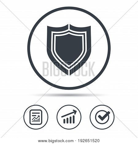 Shield protection icon. Defense equipment symbol. Report document, Graph chart and Check signs. Circle web buttons. Vector