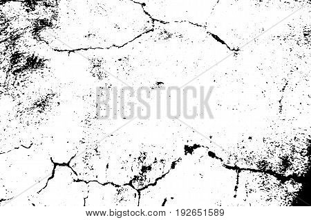 Distressed vector texture. Black grit on transparent background. Old concrete wall. Weathered asphalt surface. Monochrome vintage overlay. Aged scratched stone surface. Rough concrete texture trace