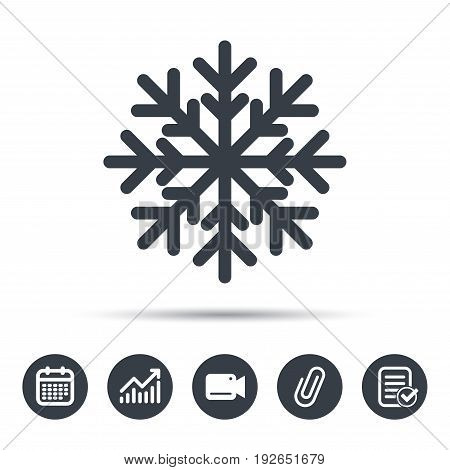 Snowflake icon. Air conditioning symbol. Calendar, chart and checklist signs. Video camera and attach clip web icons. Vector