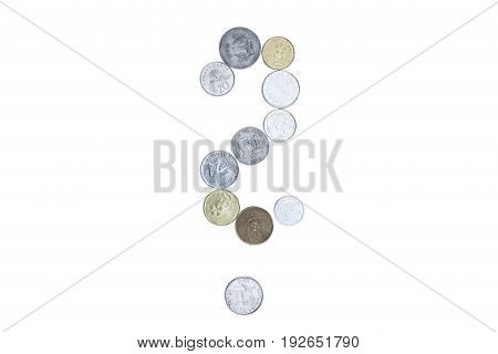 Question mark created with different colorful coins.