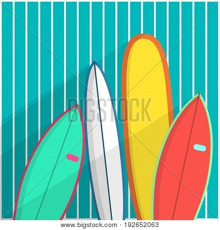Surfboards Vector illustration Four surfboards are standing at wooden blue wall Poster template Set of different surfboards in cartoon style