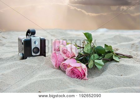 pink rose bouquet and retro black camera in beach sand with soft sunset sky