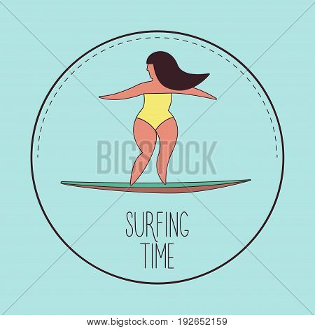 Surfing girl Vector illustration Girl with long hair in a yellow swimsuit on the surf board Water sport illustration in pastel color with thin stroke Cartoon style