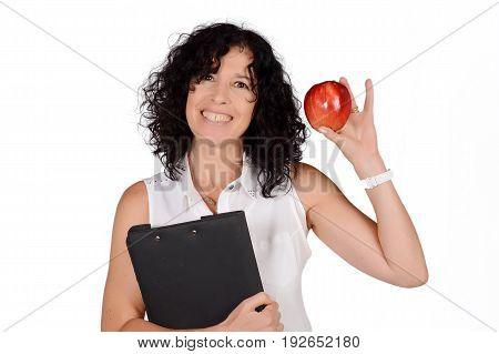 School Teacher With An Apple.