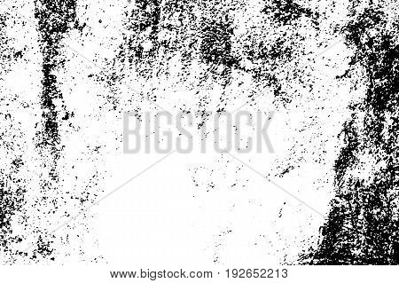 Weathered vector texture. Black grit on transparent background. Old concrete wall. Distressed asphalt surface. Monochrome vintage overlay. Aged scratched stone surface. Rough concrete texture trace