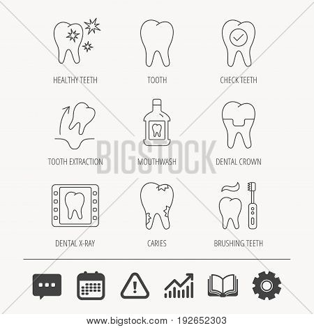Tooth, dental crown and mouthwash icons. Caries, tooth extraction and hygiene linear signs. Brushing teeth flat line icon. Education book, Graph chart and Chat signs. Vector