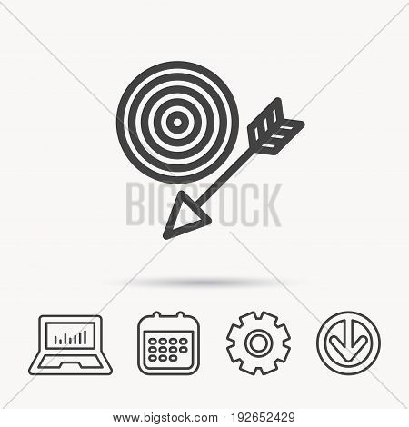 Target with arrow icon. Dart aim sign. Notebook, Calendar and Cogwheel signs. Download arrow web icon. Vector