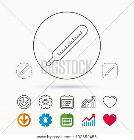 Medical thermometer icon. Temperature measurement sign. Health diagnostic symbol. Calendar, Graph chart and Cogwheel signs. Download and Heart love linear web icons. Vector
