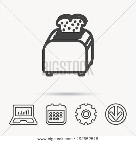 Toaster icon. Sandwich machine sign. Notebook, Calendar and Cogwheel signs. Download arrow web icon. Vector