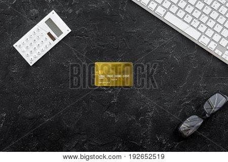 savings, finances and economy set for accountant or banker on dark table background top view mock up