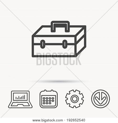 Toolbox icon. Repair instruments sign. Notebook, Calendar and Cogwheel signs. Download arrow web icon. Vector